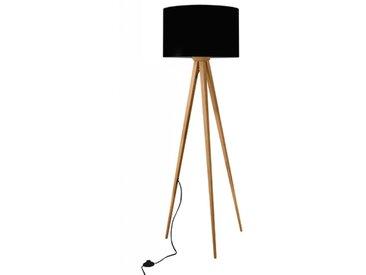 Lampadaire trépied scandinave en bois de bambou clair et abat-jour en lin noir - Bicolore