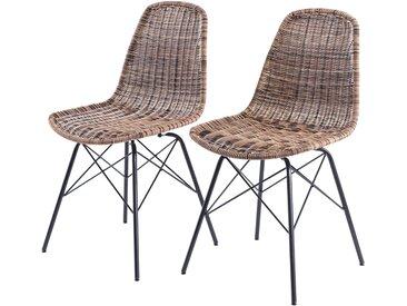 Chaise en résine tressée beige (lot de 2) pour l'intérieur et l'extérieur - Tiptur