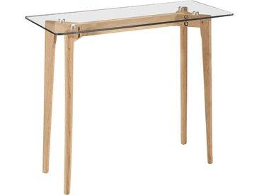 Console en verre avec pieds en bois clair - Neiden