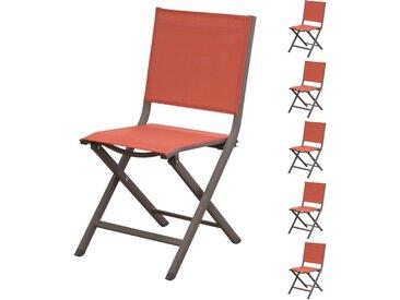 Chaise de jardin terracotta pliante en toile et aluminium (lot de 6) - Terra