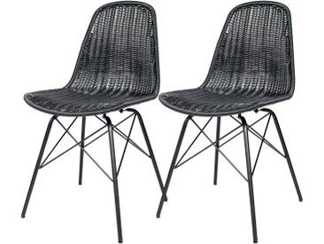 Chaise en résine tressée noire (lot de 2) pour l'intérieur et l'extérieur - Tiptur