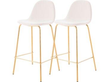 Chaise de bar vintage en cuir synthétique blanc et pieds en métal doré 65 cm (lot de 2) - Henrik