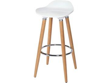 Tabouret de bar scandinave blanc pieds bois 73 cm - Italien