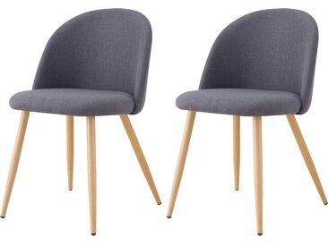 Chaise scandinave en tissu gris foncé et pieds en métal imitation bois (lot de 2) - Cozy