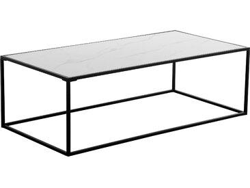 Table basse rectangulaire en verre effet marbre et céramique - Komis