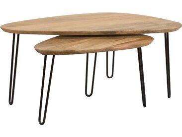 Table basse gigogne ovale en bois et pieds en métal noir (lot de 2) - Kiwi