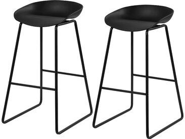 Chaise de bar noire et pieds en métal (lot de 2) - Yoshi