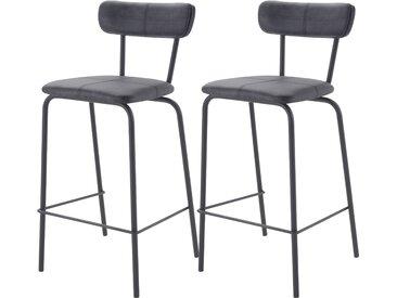 Chaise de bar vintage en cuir synthétique gris anthracite et pieds en métal noir 65 cm (lot de 2) - Lili