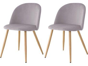 Chaise scandinave en velours gris et pieds en métal imitation bois (lot de 2) - Cozy