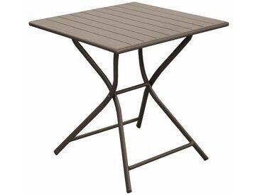 Table de jardin carrée pliante en aluminium café 2 personnes - Globe
