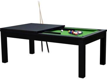 Table de Billard rectangulaire convertible noire tapis vert 8 à 10 personnes