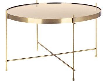 Table basse miroir ronde en métal or taille M - Valdo
