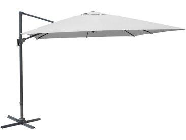 Parasol blanc déporté carré inclinable avec manivelle 3x3m