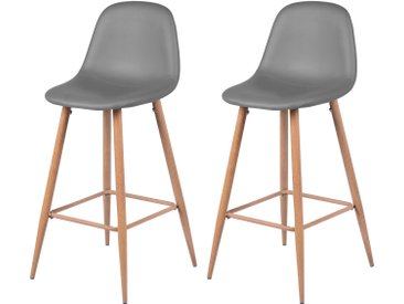 Soldes - Chaise de bar Rodrik grise 73 cm (lot de 2)