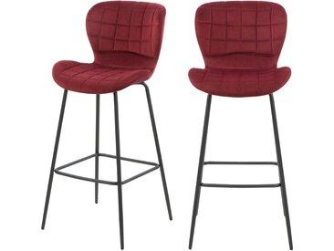 Chaise de bar en velours bordeaux et pieds en métal noir (lot de 2) - Mazzia