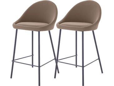 Chaise de bar vintage en cuir synthétique marron et pieds en métal noir 65 cm (lot de 2) - Misty