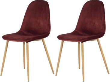 Chaise scandinave en velours bordeaux (lot de 2) - Fredrik