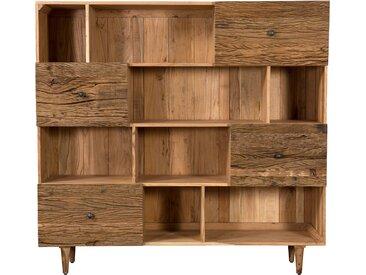 Bibliothèque en bois 4 tiroirs 8 niches en bois d'acacia et bois recyclé - Pedro