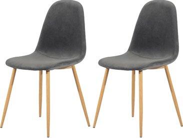 Chaise scandinave en velours gris (lot de 2) - Fredrik