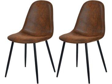 Chaise en microfibre marron vieilli (lot de 2) - Malrik