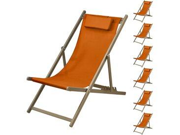 Chaise longue Calvi orange châssis taupe (lot de 6)