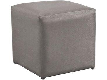 Pouf carré taupe en toile tendue - Cub