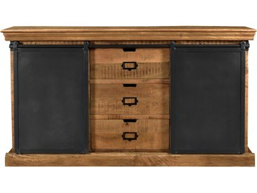Buffet en bois de manguier massif 3 tiroirs 2 portes coulissantes en métal - Tabuk
