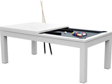 Table de Billard rectangulaire convertible blanche tapis gris 8-10 personnes