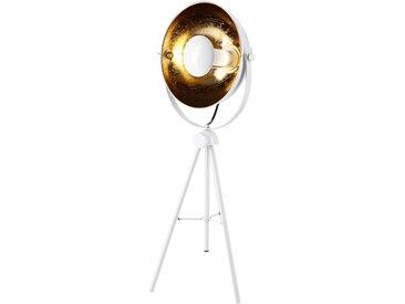 Lampe à poser trépied orientable en métal blanc intérieur doré taille M - Roxie