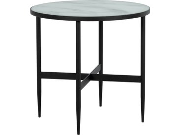 Table basse ronde en verre effet marbre et pieds en métal noir diamètre 50 cm - Alaska