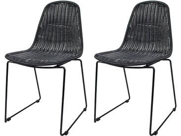 Chaise en résine tressée noire (lot de 2) pour l'intérieur et l'extérieur - Chipie