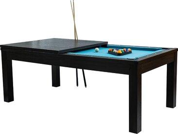 Table de Billard rectangulaire convertible en bois foncé tapis bleu clair 8 à 10 personnes
