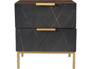 Table de chevet deux tiroirs en ardoise, métal et bois de manguier - Marcelle