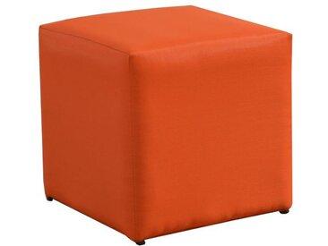 Pouf carré orange en toile tendue - Cub