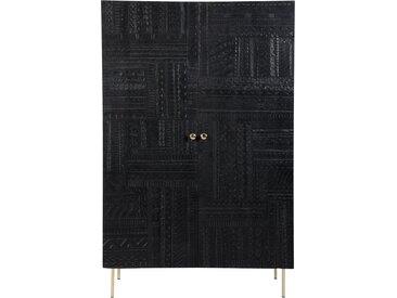 Armoire gravée noire et pieds en métal dorés - Chimane