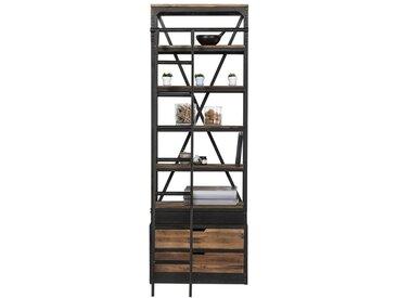 Bibliothèque 86 cm en bois et métal avec échelle, 2 tiroirs  - Kasi