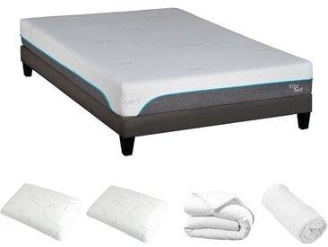 Ensemble prêt à dormir (matelas + sommier + oreiller + couette + protège matelas) 160x200 cm - Vita Wave
