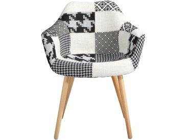 Soldes - Chaise Anssen Patchwork noire et blanche