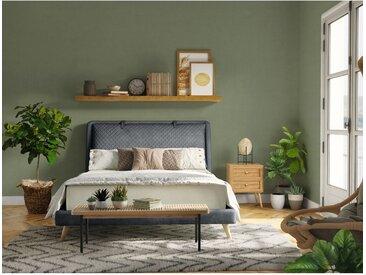 Ensemble sommier 24 lattes, tête de lit, cadre de lit en tissu gris foncé 140x190 cm - Dakotas