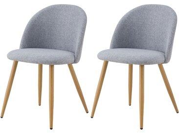Chaise scandinave en tissu gris clair et pieds en métal imitation bois (lot de 2) - Cozy