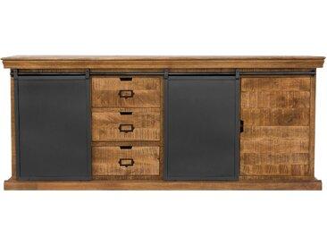 Grand buffet 3 portes 3 tiroirs en bois de manguier massif et métal - Tabuk