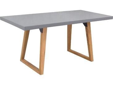 Table rectangulaire 160 cm plateau en béton et pieds en teck 6 personnes (intérieur et extérieur) - Bétina
