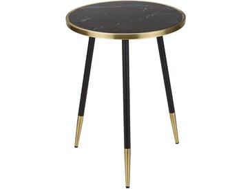 Bout de canapé rond en verre effet marbre noir et pieds métal - Capella