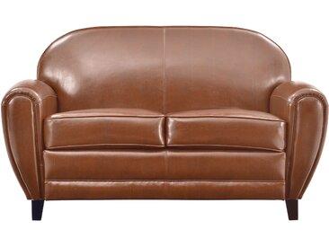 Canapé en croûte de cuir pigmentée camel 2 places - Club