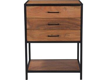 Petite commode en bois d'acacia et métal noir 3 tiroirs - Monella