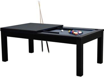 Table de Billard rectangulaire convertible noire tapis gris 8 à 10 personnes