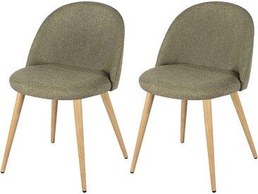 Chaise scandinave en tissu taupe et pieds en métal imitation bois (lot de 2) - Cozy