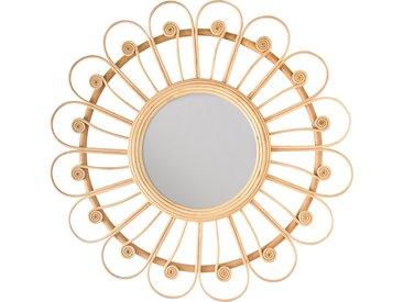 Miroir rond en rotin naturel - Bardot
