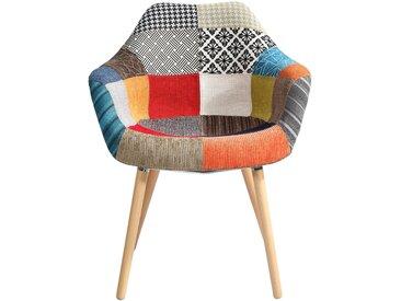 Chaise scandinave patchwork en tissu multicolore - Anssen