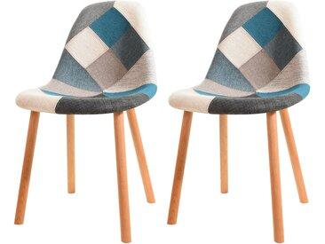 Chaise scandinave patchwork en tissu bleu, gris et blanc - Arctik